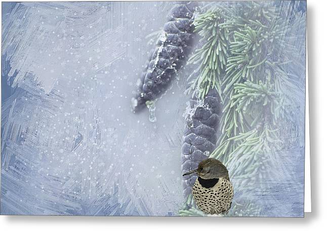 Sap Greeting Cards - The Breath Of Old Man Winter Greeting Card by Diane Schuster
