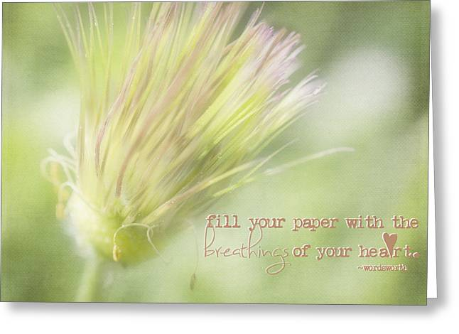 Common Pasque Flower Greeting Cards - The Breathings Of Your Heart - Inspirational Art by Jordan Blackstone Greeting Card by Jordan Blackstone