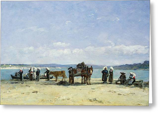 Fish Cart Greeting Cards - The Breton Fishermens Wives Greeting Card by Eugene Louis Boudin