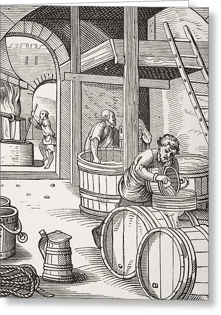 Vat Greeting Cards - The Brewer, After A 16th Century Illustration Drawn And Engraved By Jost Amman 1539-91 From Le Greeting Card by French School