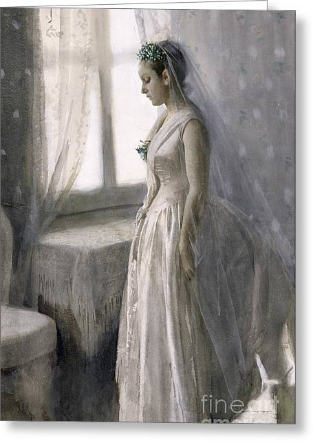 Bridal Gown Greeting Cards - The Bride Greeting Card by Anders Leonard Zorn