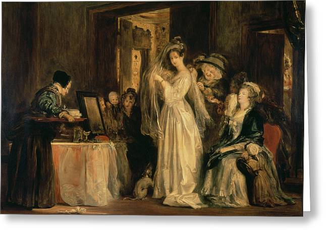 Veiled Greeting Cards - The Bride At Her Toilet On The Day Of Her Wedding, 1838 Oil On Canvas Greeting Card by Sir David Wilkie