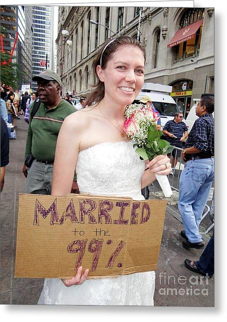 Occupy Greeting Cards - The Bride Greeting Card by Ed Weidman