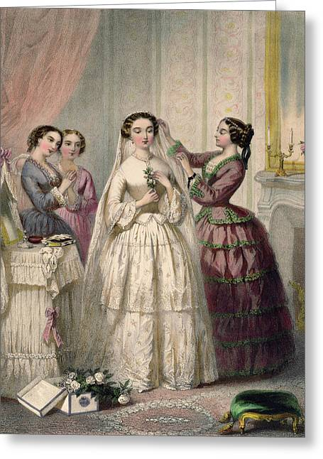 Dressing Greeting Cards - The Bride, Engraved By J. Battannier, 1852-53 Colour Litho Greeting Card by Henri Lafon