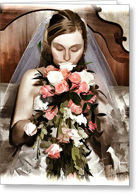 Wacom Tablet Greeting Cards - The Bride  Greeting Card by G Sugal