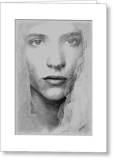Veiled Drawings Greeting Cards - The bride By Quim Abella Greeting Card by Joaquin Abella