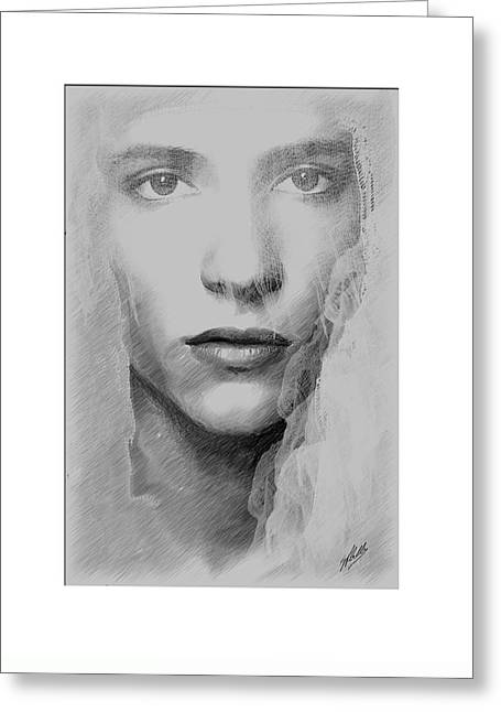 Veiled Drawings Greeting Cards - The bride  Greeting Card by Joaquin Abella