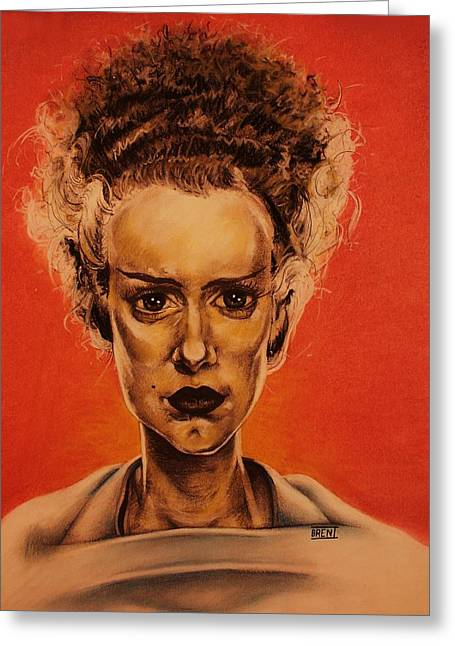 Monster Pastels Greeting Cards - The Bride of Frankenstein Greeting Card by Brent Andrew Doty