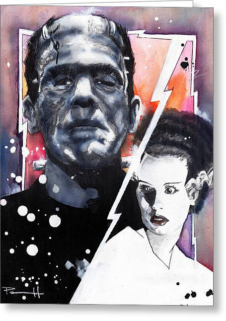 Count Dracula Greeting Cards - The Bride of Frankenstein Greeting Card by Sean Parnell