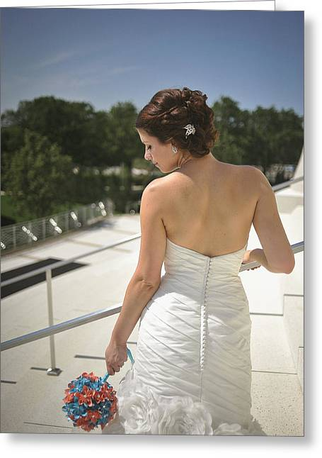 Strapless Dress Greeting Cards - The Brides Back Greeting Card by Mike Hope