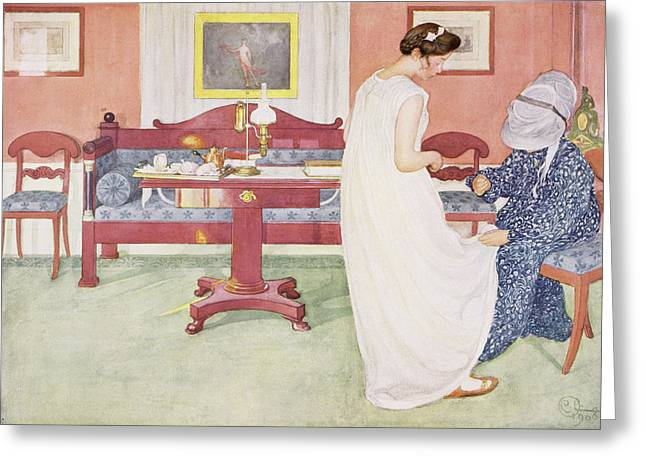 Dressmaker Greeting Cards - The Bridesmaid, Pub. In Lasst Licht Greeting Card by Carl Larsson