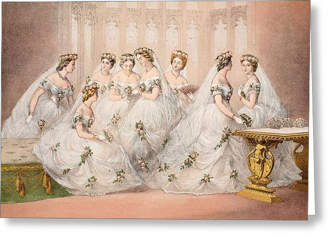 The Bridesmaids, 10th March, 1863 - Marriage Of Edward Vii And Alexandra Of Denmark Greeting Card by English School