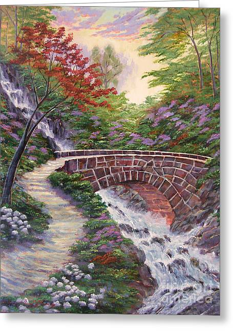 Stone Bridge Greeting Cards - The Bridge Across Greeting Card by David Lloyd Glover