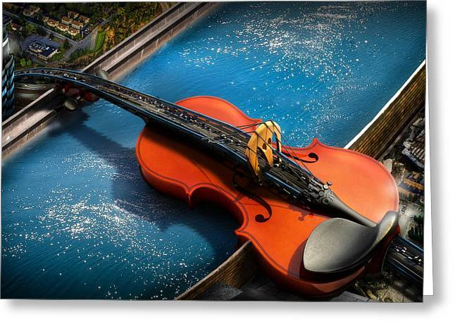 Art Of Soul Music Greeting Cards - The Bridge Greeting Card by Alessandro Della Pietra