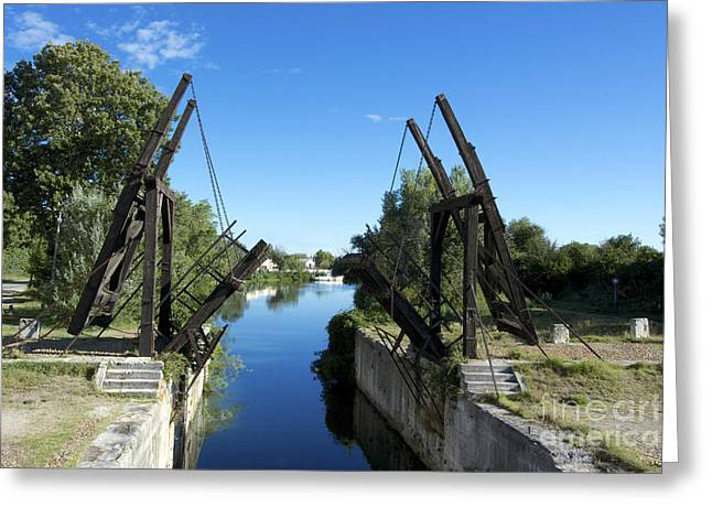 South Of France Photographs Greeting Cards - The bridge at Langlois painted by Van Gogh. Arles. France Greeting Card by Bernard Jaubert