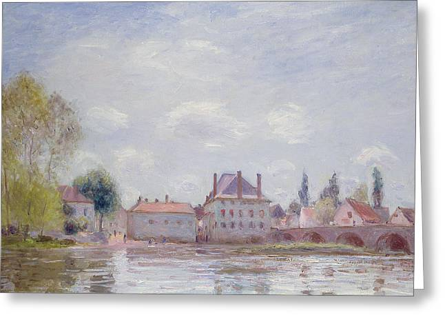 Reflected On The River Greeting Cards - The Bridge at Moret sur Loing Greeting Card by Alfred Sisley