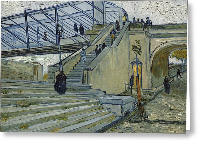 Arles Paintings Greeting Cards - The Bridge At Trinquetaille Greeting Card by Vincent van Gogh