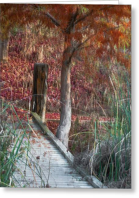 Wooden Bridges Greeting Cards - The bridge Greeting Card by Constance Fein Harding