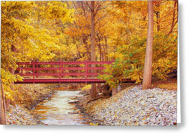 Park Scene Greeting Cards - The bridge Greeting Card by Keith Homan