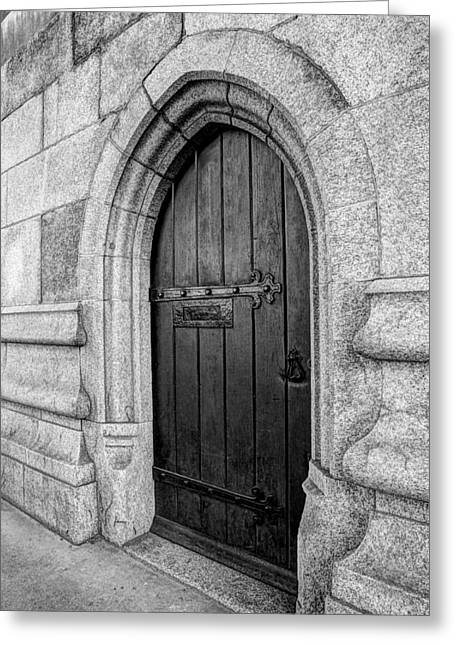 Mystery Door Greeting Cards - The Bridge Masters Door Tower Bridge in Black and White Greeting Card by Gill Billington
