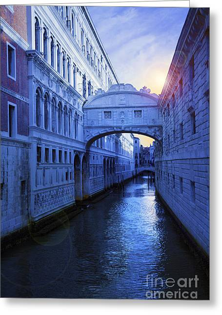 Famous Bridge Greeting Cards - The Bridge of Sighs Venice Greeting Card by Simon Kayne