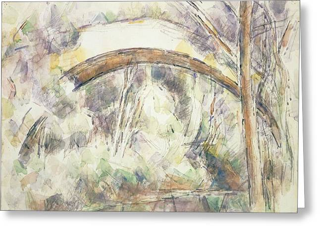 Angular Greeting Cards - The Bridge Of Trois-sautets, C.1906 Wc & Pencil On Paper Greeting Card by Paul Cezanne