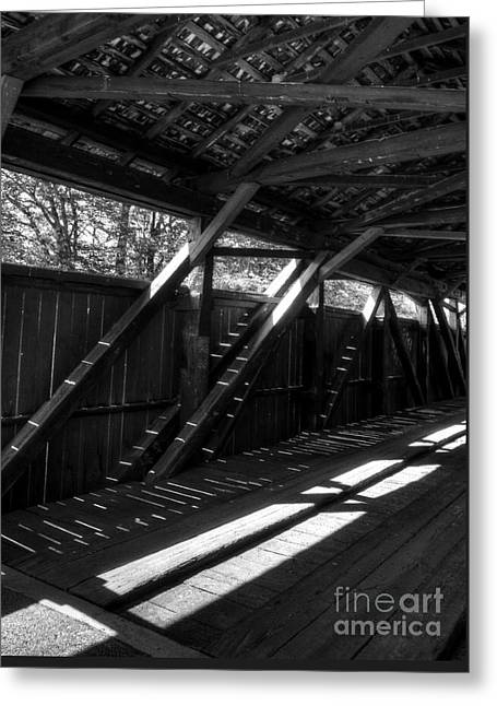 The Bridge Timbers Bw Greeting Card by Mel Steinhauer
