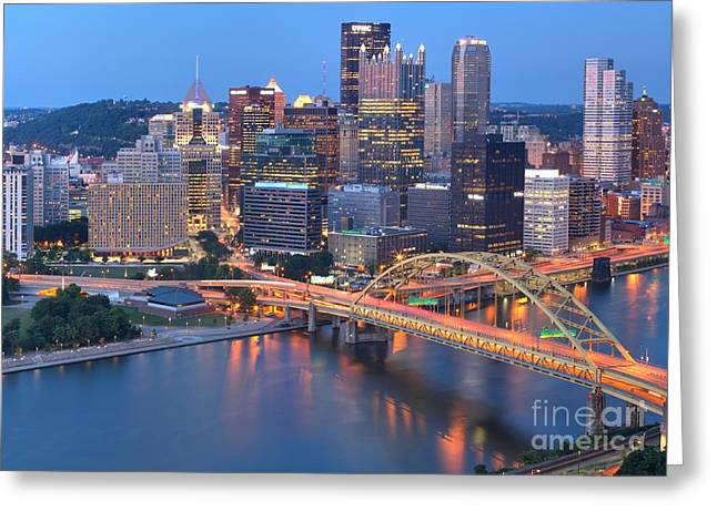 The Bridge To Pittsburgh Greeting Card by Adam Jewell