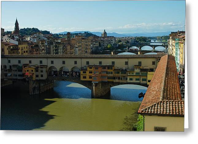 Covered Bridge Greeting Cards - The Bridges of Florence Italy Greeting Card by Georgia Mizuleva
