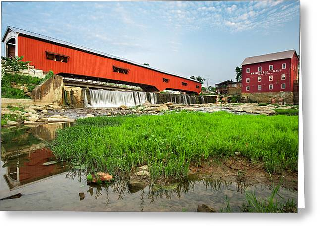 Grist Mill Greeting Cards - The Bridgeton Mill and Covered Bridge - Indiana Greeting Card by Gregory Ballos