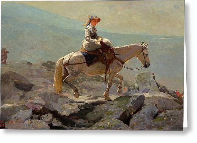 Winslow Homer Digital Art Greeting Cards - The Bridle Path White Mountains Greeting Card by Winslow Homer
