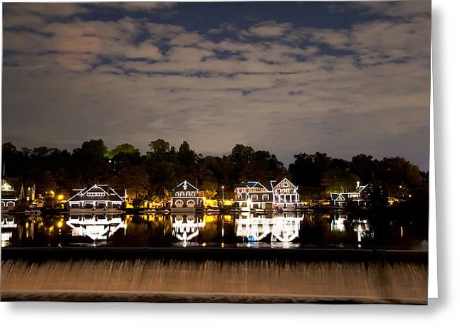 Boathouse Row Greeting Cards - The Bright Lights of Boathouse Row Greeting Card by Bill Cannon