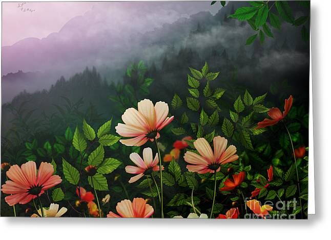 Floral Digital Art Greeting Cards - The Brighter Side Of The Dark Mountains Greeting Card by Bedros Awak