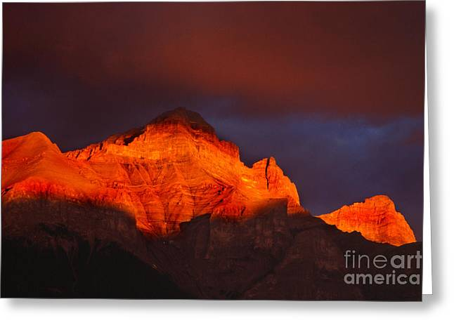 The Brilliance Of Light Mount Rundle Banff Greeting Card by Bob Christopher