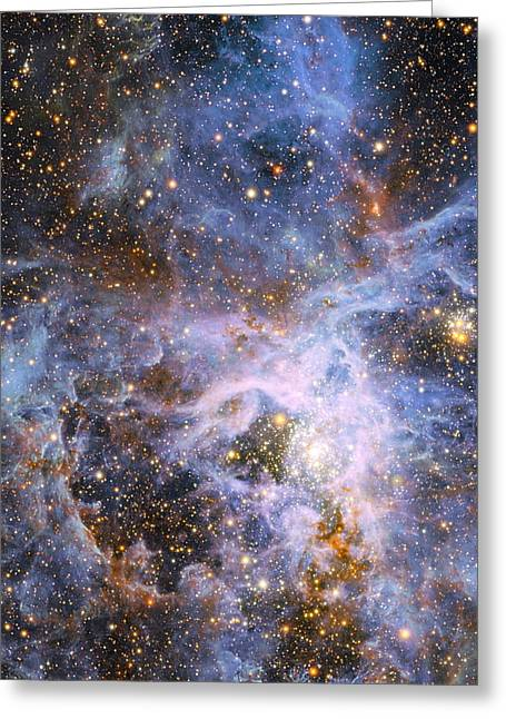 Magellanic Greeting Cards - The Brilliant Star VFTS 682 in the LMC Greeting Card by Eric Glaser