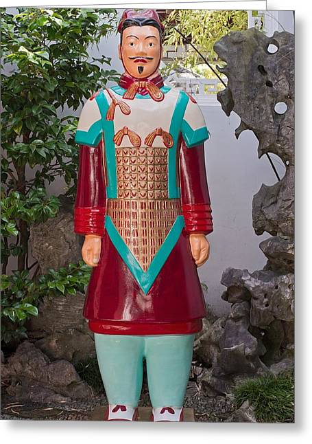 Shaanxi Province Greeting Cards - The Brilliant Terracotta Warrior Greeting Card by David Oberman