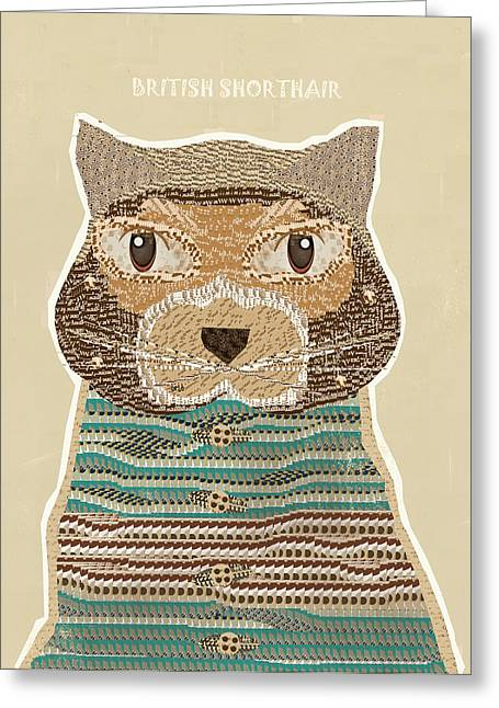 Quirky Greeting Cards - The British Shorthair Cat Greeting Card by Bri Buckley