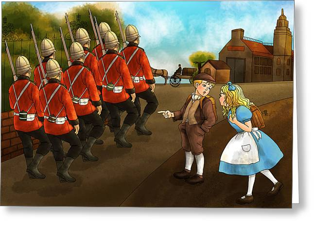 Declaration Of Independence Paintings Greeting Cards - The British Soldiers Greeting Card by Reynold Jay