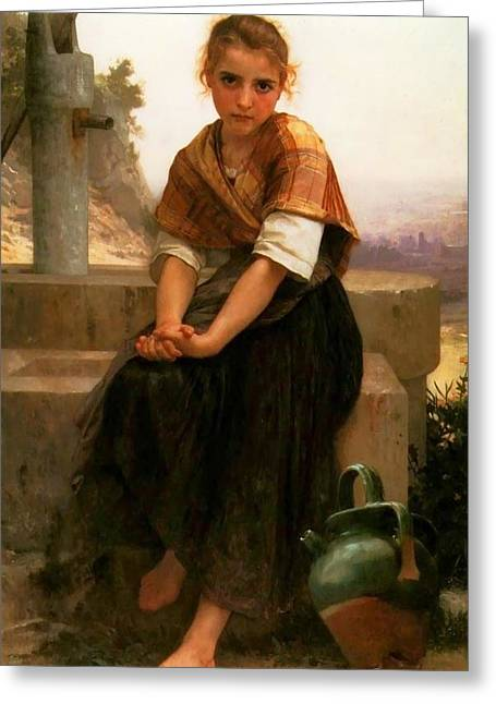 The Broken Pitcher Greeting Card by William Bouguereau
