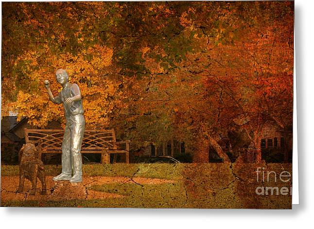 Dog At Play Print Greeting Cards - The Bronze Boy Greeting Card by Beverly Guilliams