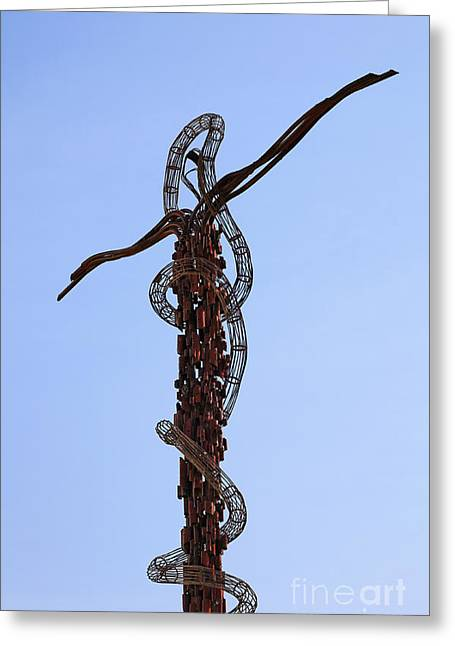 The Bronze Brazen Serpent Sculpture At Mount Nebo Jordan Greeting Card by Robert Preston
