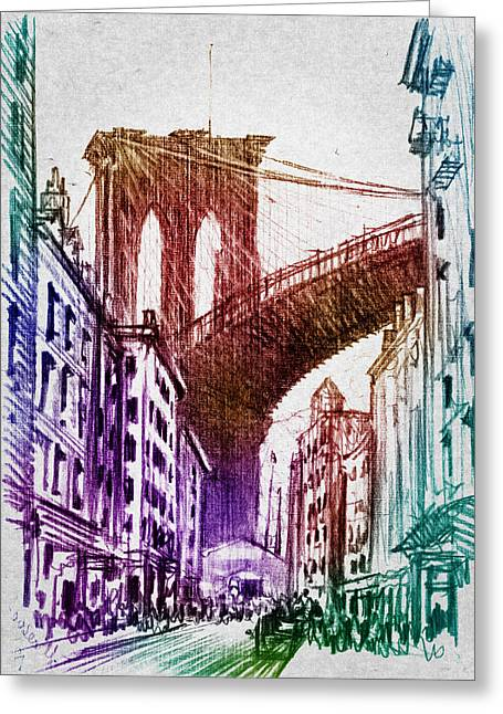 Grunge Greeting Cards - The Brooklyn Bridge Greeting Card by Aged Pixel