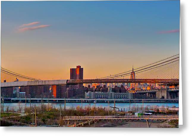 The Brooklyn Bridge And The Empire State Building Greeting Card by Mitchell R Grosky