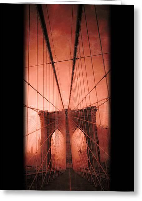 Spans Greeting Cards - The Brooklyn Bridge Greeting Card by Edward Fielding