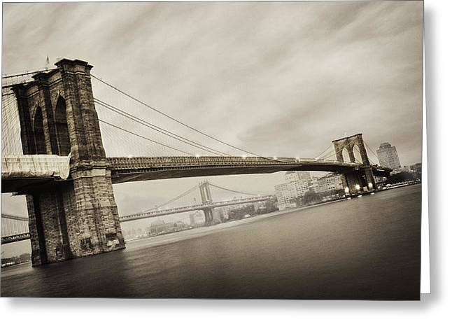 Bridge Greeting Cards - The Brooklyn Bridge Greeting Card by Eli Katz