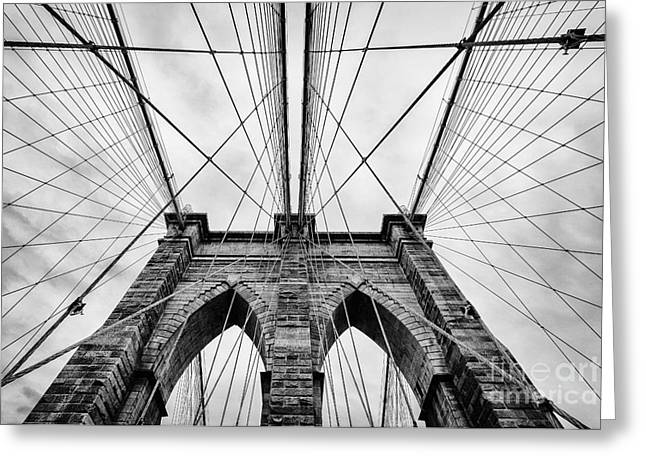 White Photographs Greeting Cards - The Brooklyn Bridge Greeting Card by John Farnan