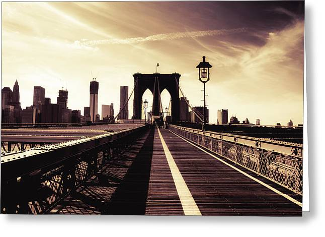The Brooklyn Bridge - New York City Greeting Card by Vivienne Gucwa