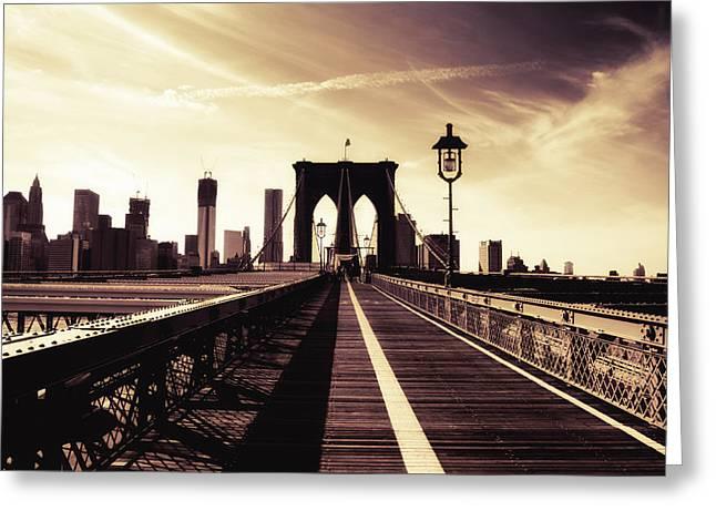 Manhattan Greeting Cards - The Brooklyn Bridge - New York City Greeting Card by Vivienne Gucwa