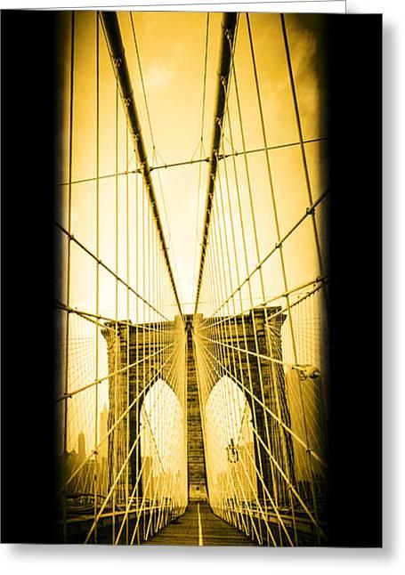 Old Walkway Greeting Cards - The Brooklyn Bridge New York Greeting Card by Edward Fielding