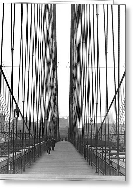 The Brooklyn Bridge Promenade Greeting Card by Underwood Archives